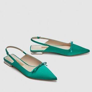 Zara Green Slingback Flats